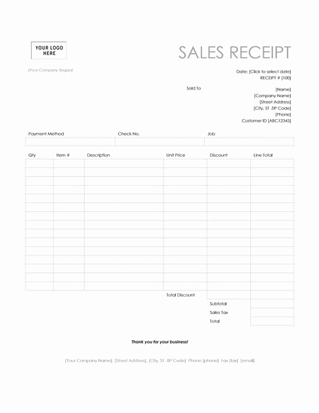Sales Receipt Template Word New Pos Sales Receipt Template