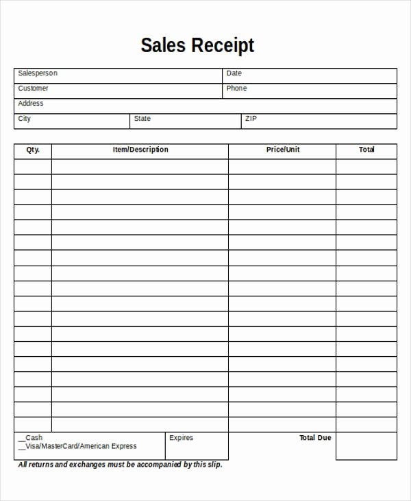 Sales Receipt Template Word New Printable Sales Receipt Sample 7 Examples In Word Pdf