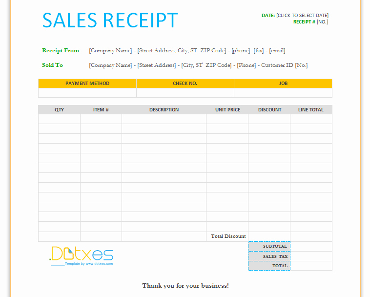 Sales Receipt Template Word New Sales Receipt Template for Word Dotxes