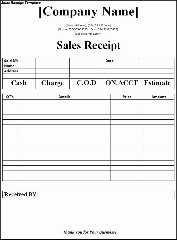 Sales Receipt Template Word Unique Sales Receipt Template