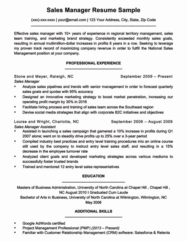 Sales Resume Template Word Best Of Sales Manager Resume Sample & Writing Tips
