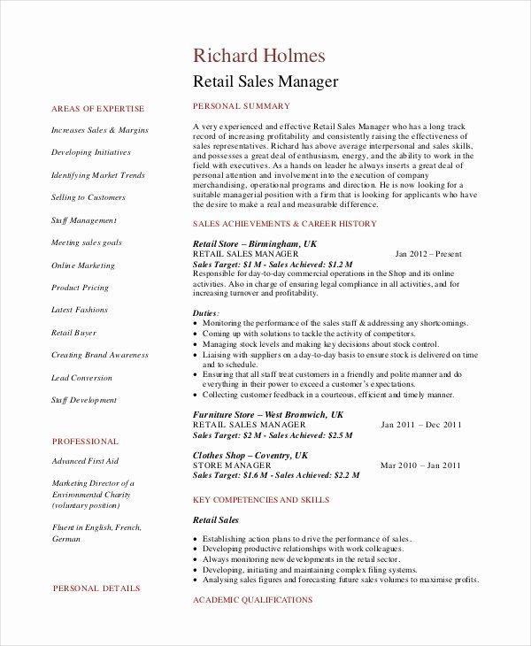 Sales Resume Template Word Elegant Sales Manager Resume Template 7 Free Word Pdf