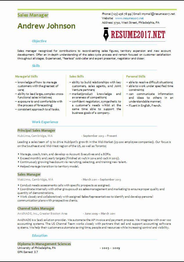 Sales Resume Template Word Lovely Sales Manager Resume Template 2017