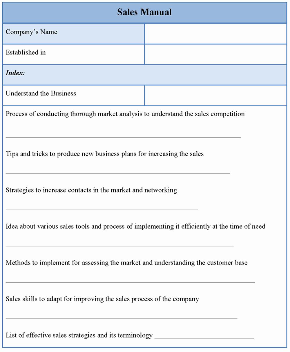 Sales Training Manual Template Beautiful Manual Template for Sales Sample Of Sales Manual Template