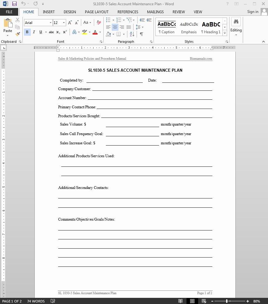 Sales Training Manual Template Unique Sales Account Maintenance Plan Template