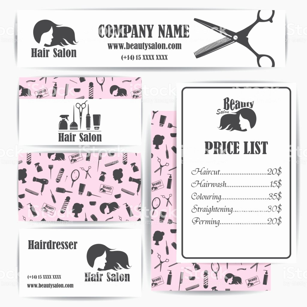 Salon Price List Template Awesome Beauty Salon Barbershop Vintage Business Cards and Prices