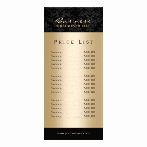 Salon Price List Template Awesome Elegant Black & Gold Beauty Salon Price List Rack Card