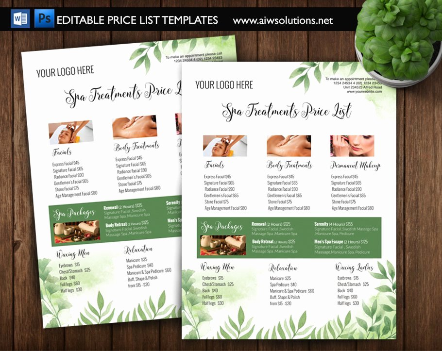 Salon Price List Template Beautiful Green Spa Price List Id5 Flyer Templates Creative Market