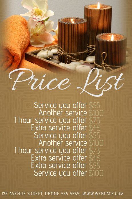 Salon Price List Template Elegant Spa or Beauty Salon Price List Template