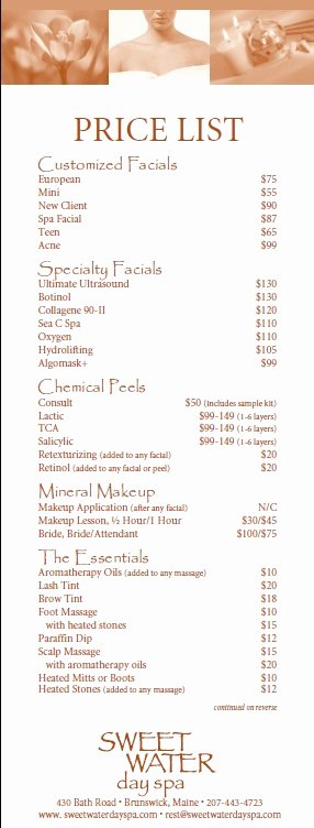 Salon Price List Template Fresh 10 Free Sample Spa Price List Templates Printable Samples