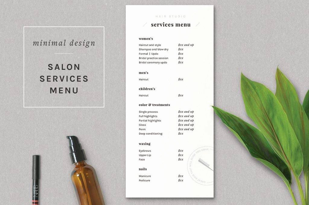 Salon Price List Template Fresh 17 Salon Menu Designs and Examples – Psd Al