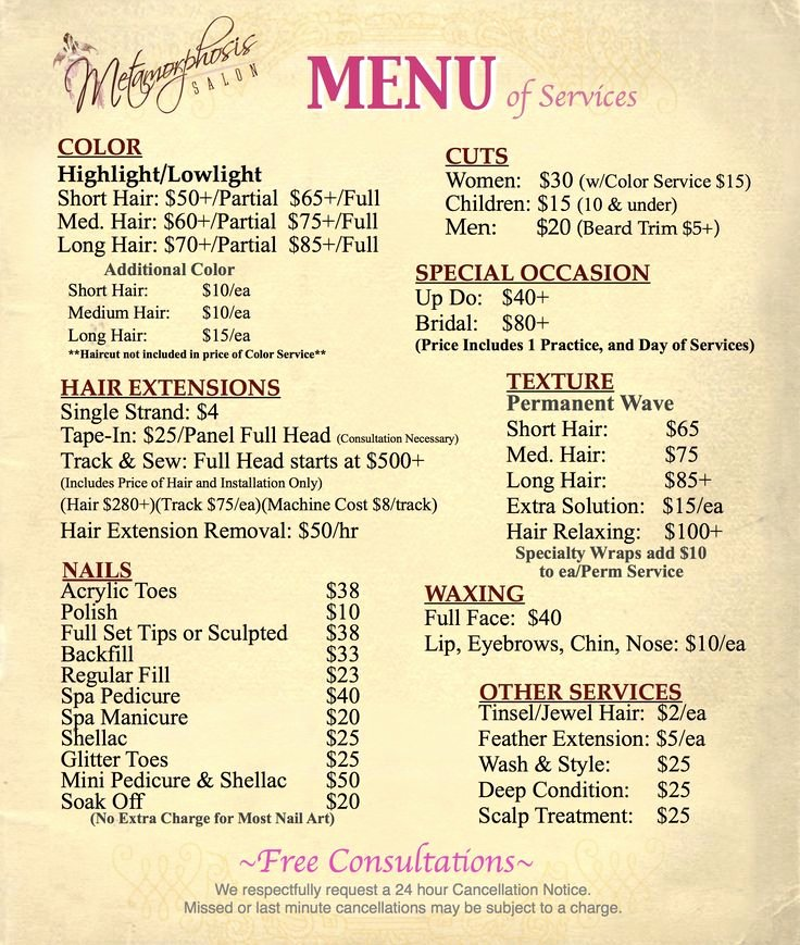 Salon Price List Template Fresh Best 25 Salon Menu Ideas On Pinterest