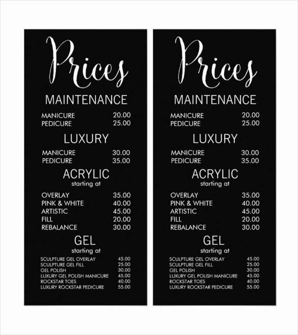 Salon Price List Template Inspirational 24 Price Menu Templates Free Sample Example format
