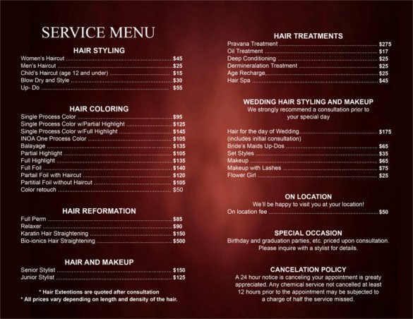 Salon Price List Template Inspirational 25 Price List Templates Doc Pdf Excel Psd