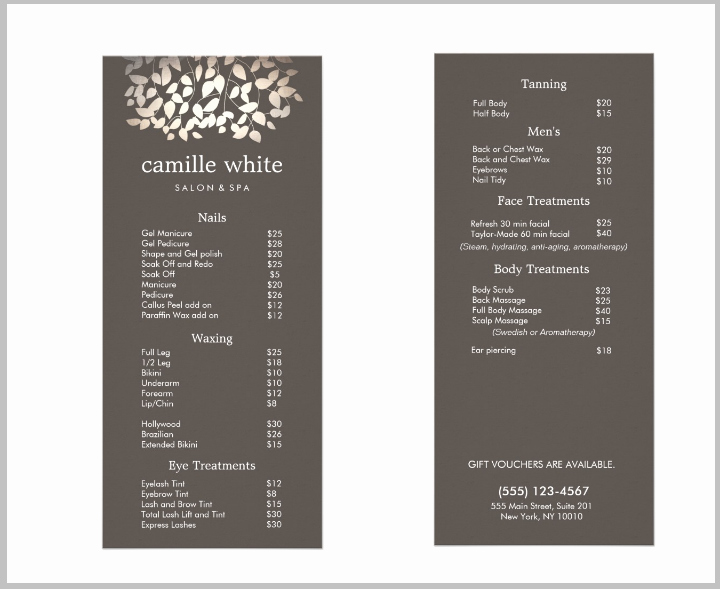 Salon Price List Template Lovely 15 Eye Catching Salon Menu Templates Psd Ai
