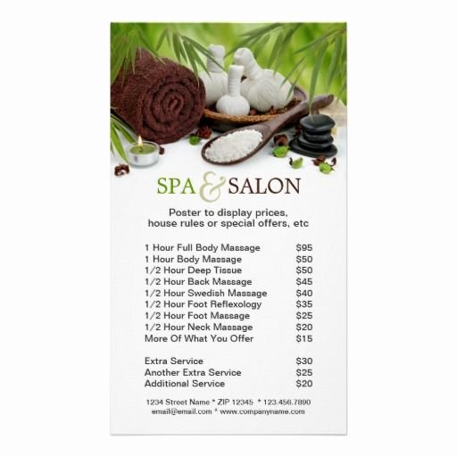 Salon Price List Template Lovely Spa Massage Salon Menu Services Poster