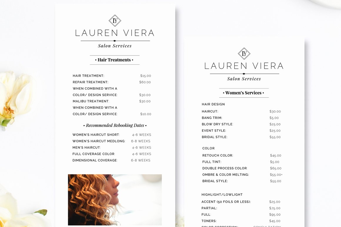 "Salon Price List Template Luxury Salon Price List 4"" X 9"" Rack Card Flyer Templates"