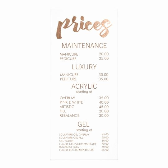 Salon Price List Template New Bronze Salon Retail Menu Price List Template Cards
