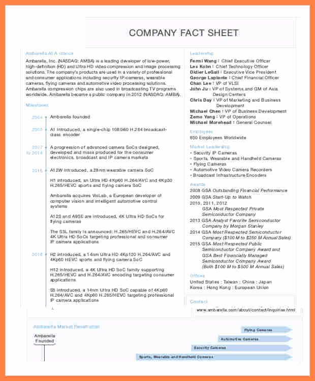 Sample Fact Sheet Template Best Of 8 Pany Fact Sheet Template