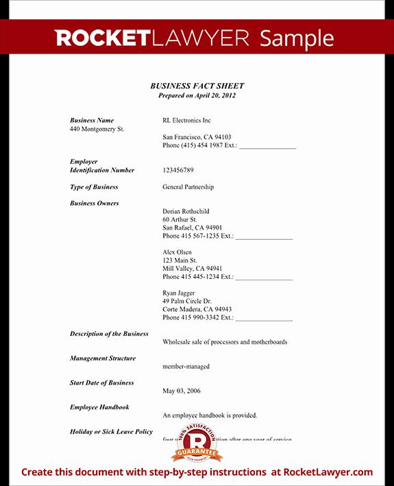 Sample Fact Sheet Template Elegant Business Fact Sheet with Template & Sample