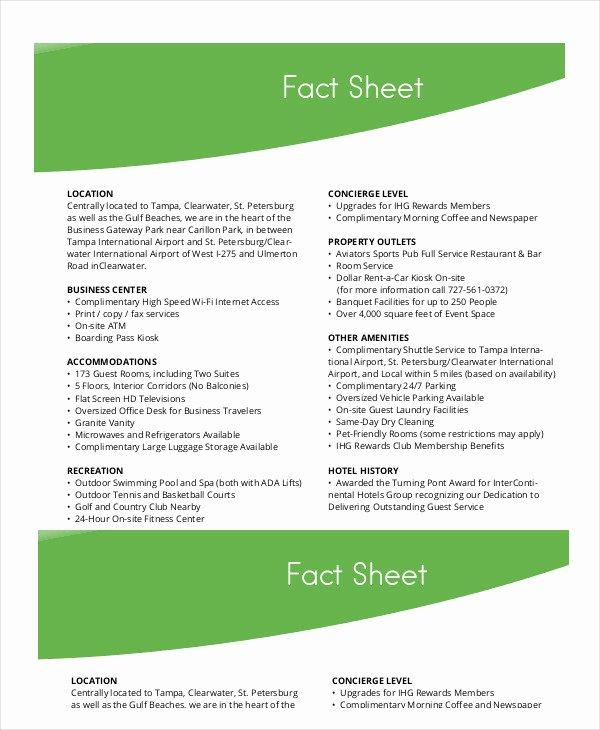 Sample Fact Sheet Template Fresh Fact Sheet format 10 – Platte Sunga Zette