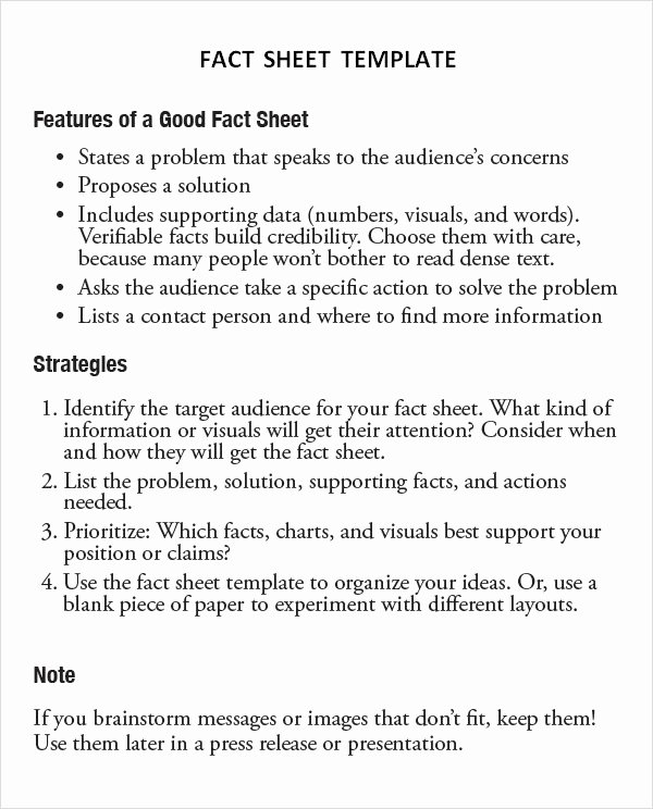 Sample Fact Sheet Template Lovely Free 13 Sample Fact Sheet Templates In Ms Word Pages