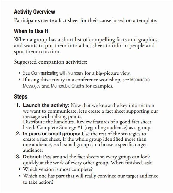 sample fact sheet