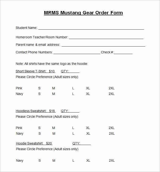 Sample order forms Template Inspirational T Shirt order form Template 26 Free Word Pdf format