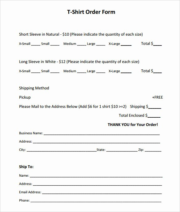 Sample order forms Template Lovely Sample Shirt order form