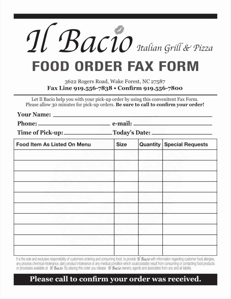 Sample order forms Template New 10 Food order form Templates Word Docs
