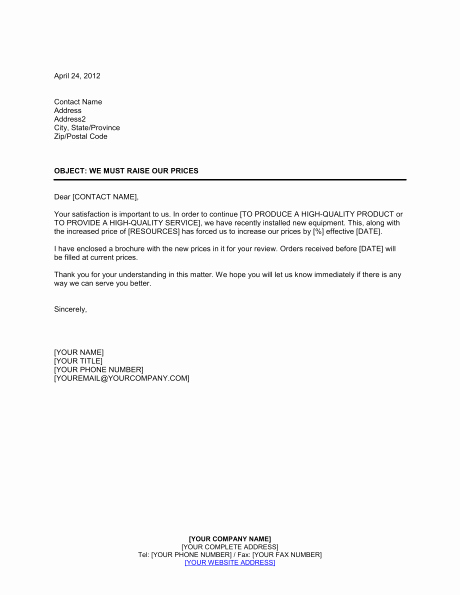 Sample Rent Increase Letter Template Beautiful Price Increase Sample Letter