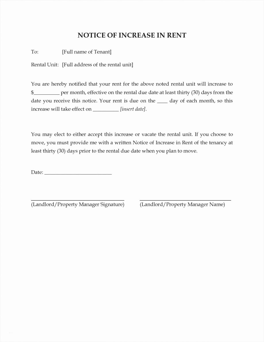 Sample Rent Increase Letter Template Inspirational 30 Days Notice Template Letter Sample Eviction Free to