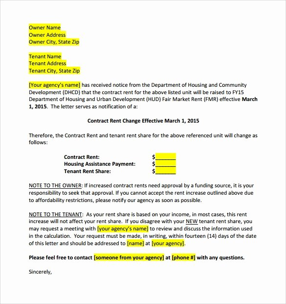 Sample Rent Increase Letter Template Inspirational 9 Sample Rent Increase Letter Templates Pdf Word
