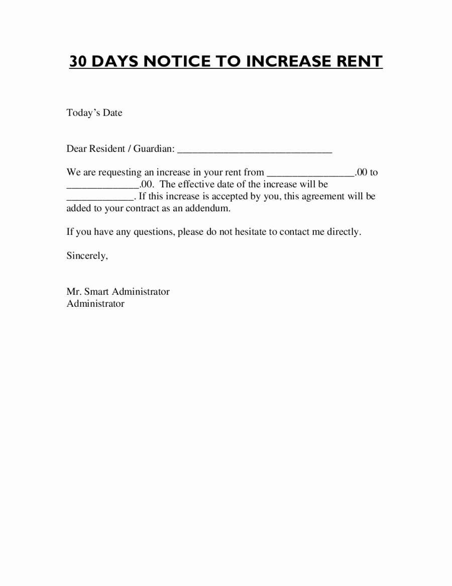 Sample Rent Increase Letter Template Lovely Letter format for Rent Increase Edit Fill Sign Line