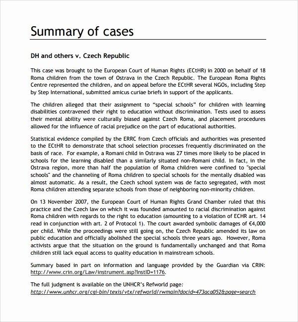 Sample Use Case Template Fresh 10 Case Summary Templates