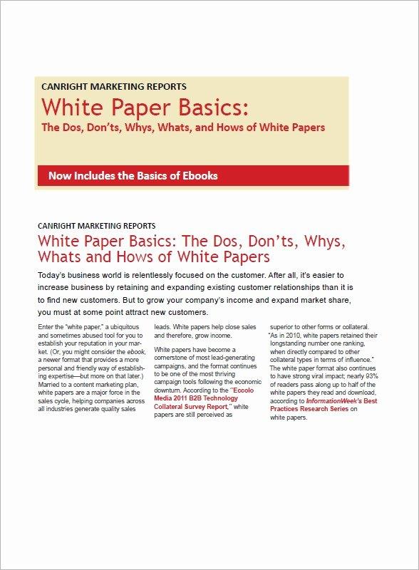 Sample White Paper Template Unique Free 12 White Paper Templates In Pdf