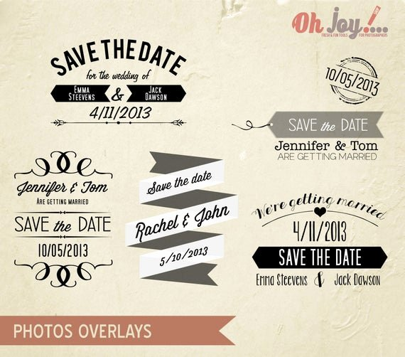 Save the Date Photoshop Templates Fresh Instant Download Save the Date Overlays by Ohjoyshop