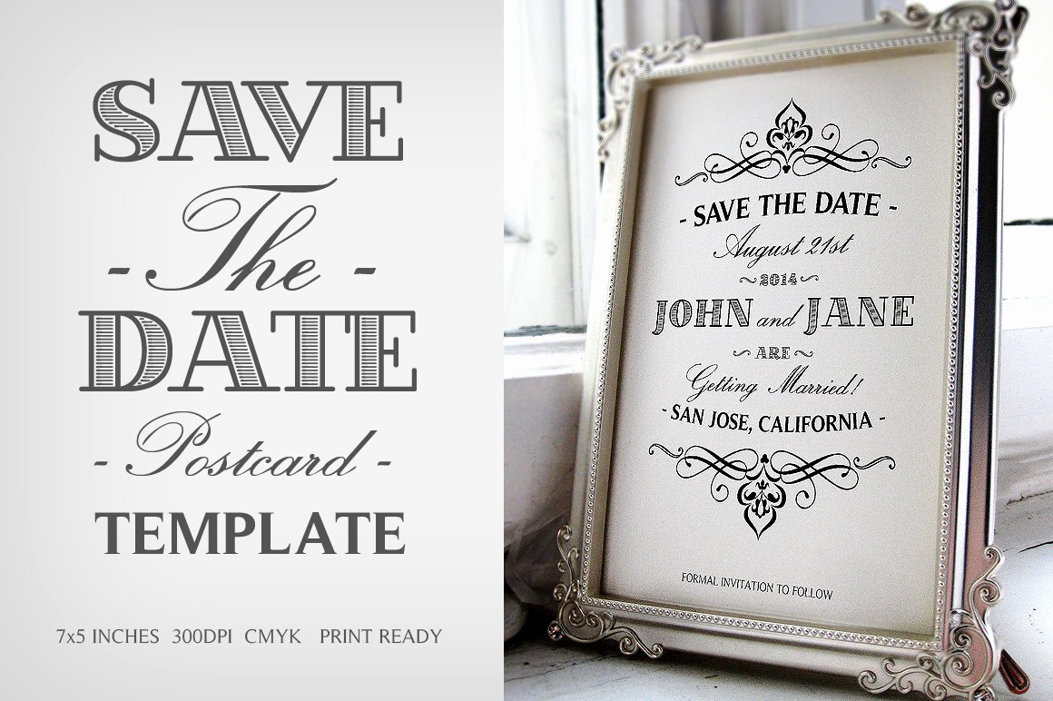 Save the Date Photoshop Templates Luxury Save the Date Postcard Template V 1 Wedding Templates