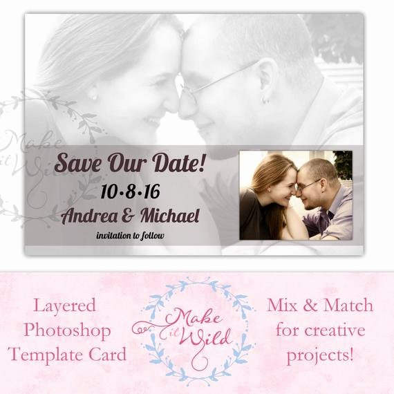 Save the Date Photoshop Templates New Save the Date Digital Card Template Shop Digital Art