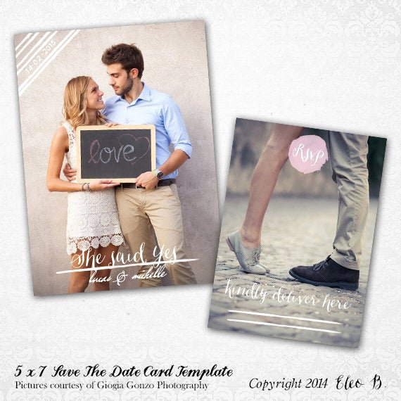 Save the Date Photoshop Templates Unique Save the Date Template Wedding Invitation Shop by Eleob