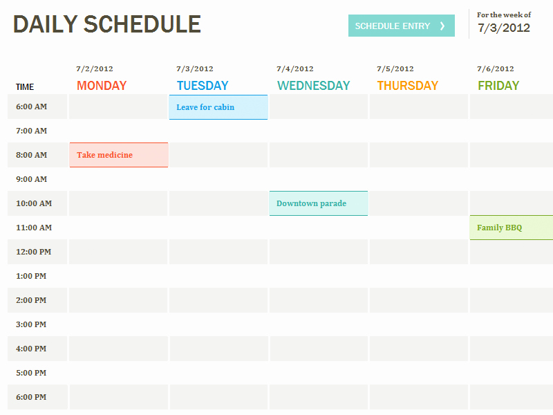 Schedule C Excel Template Lovely Daily Schedule Template