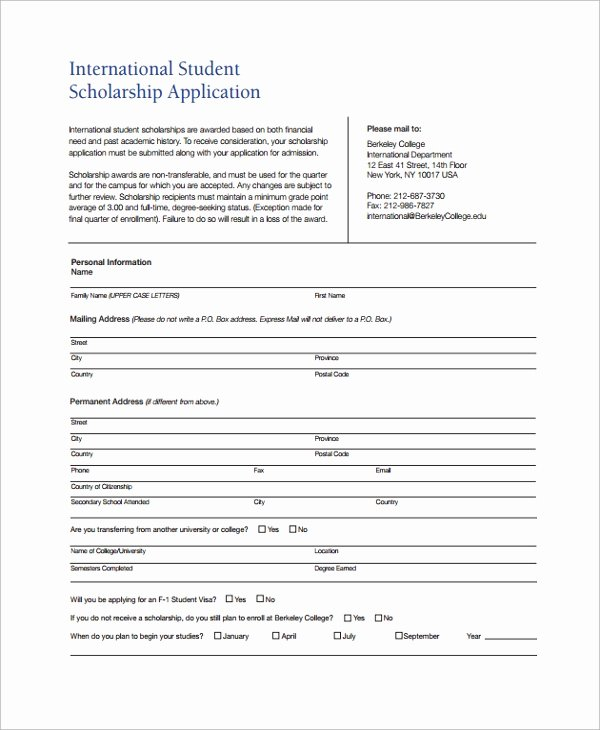 Scholarship Application form Template Awesome Sample Scholarship form 8 Documents In Pdf Word