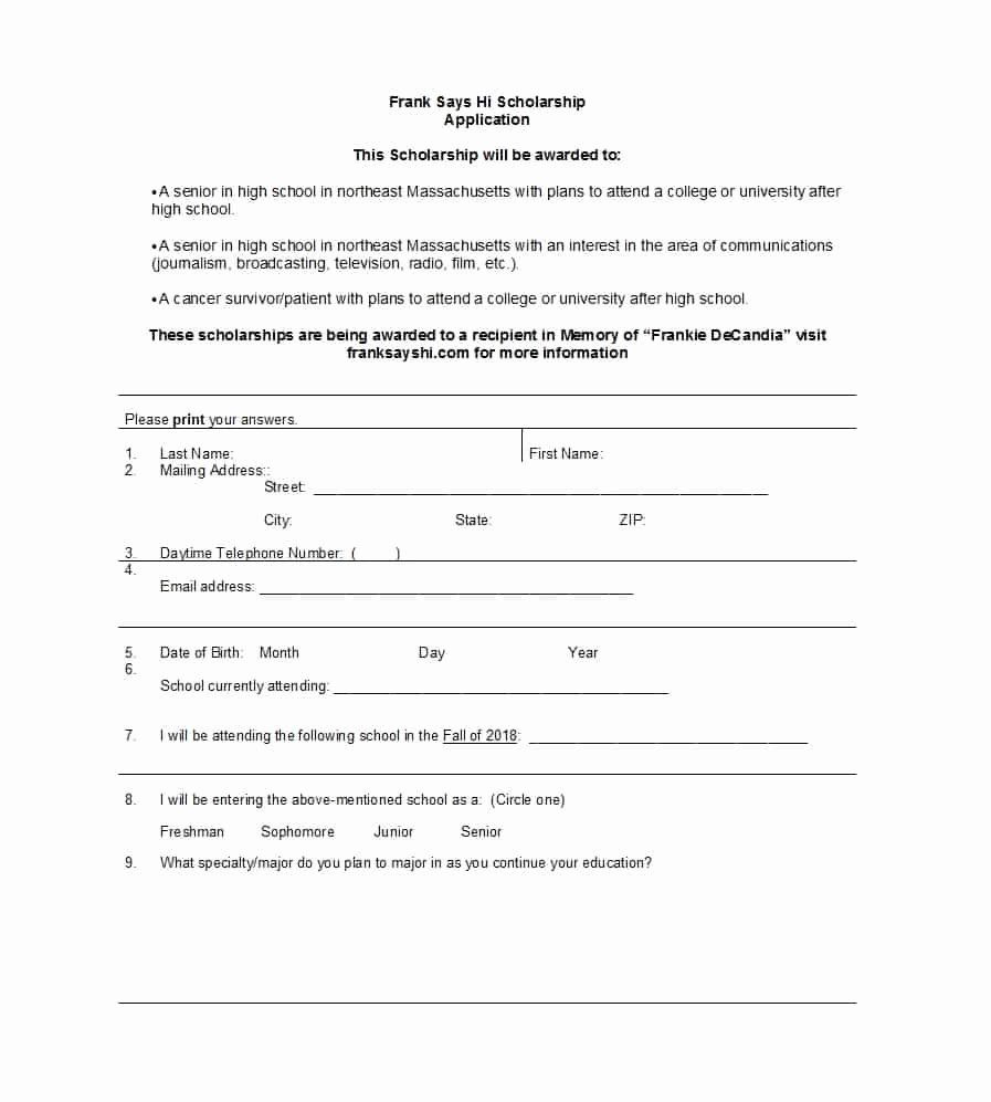 Scholarship Application form Template Best Of 50 Free Scholarship Application Templates & forms