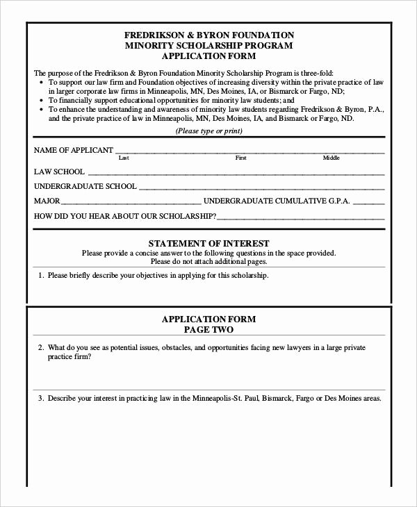 Scholarship Application form Template Elegant 35 Application form Samples
