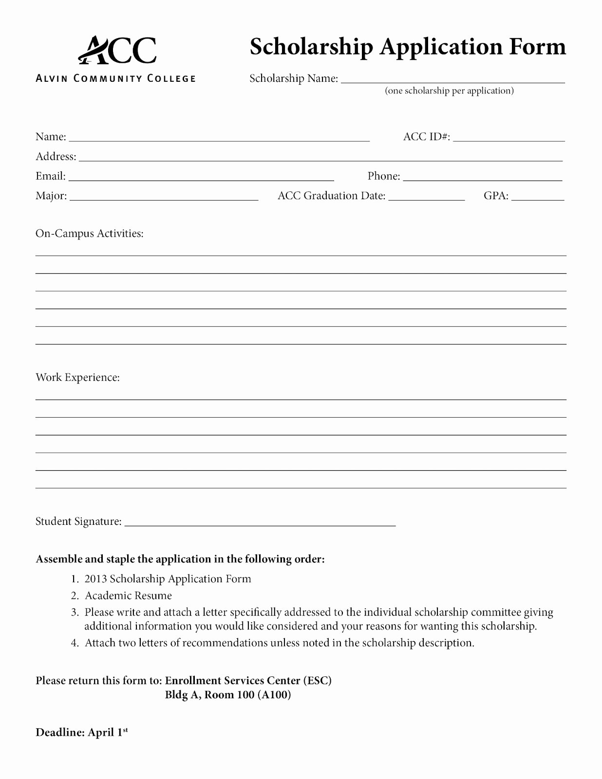 Scholarship Application form Template Elegant Application form Basic Application form Template