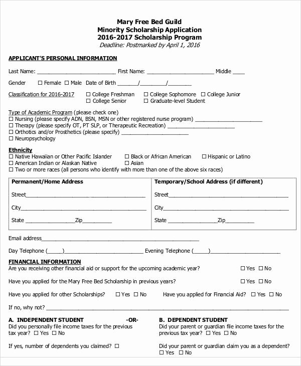 Scholarship Application form Template Fresh Application form Samples