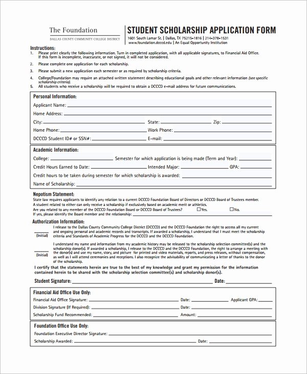 Scholarship Application form Template Fresh Sample Scholarship form 8 Documents In Pdf Word