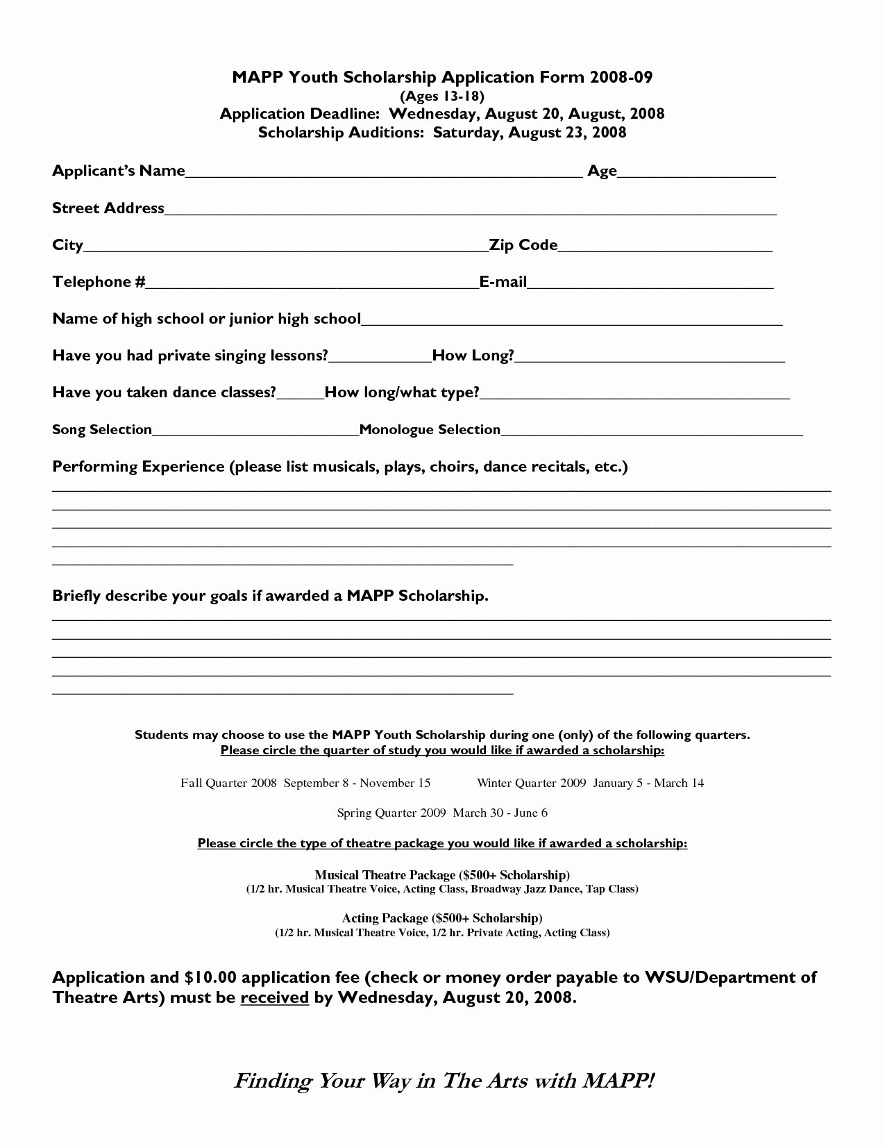 Scholarship Application form Template Fresh Scholarship format Sample