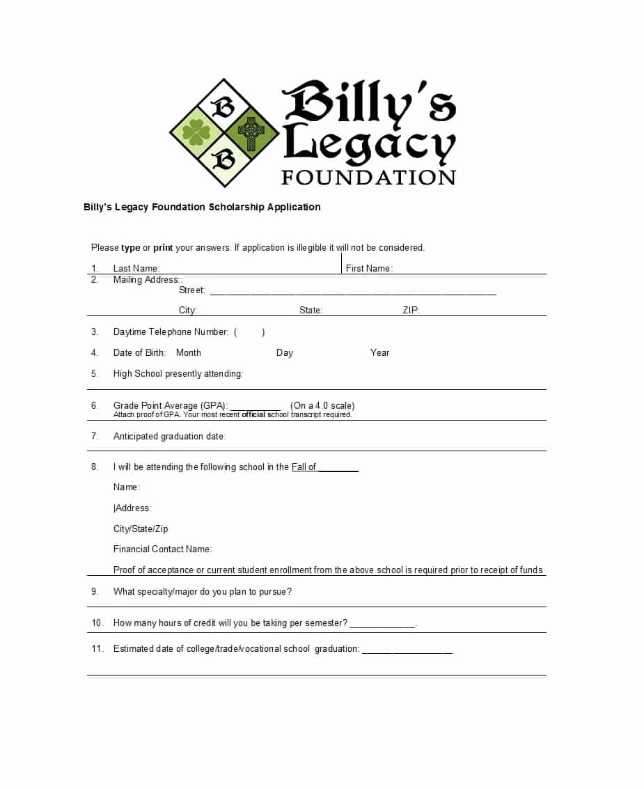 Scholarship Application form Template Lovely 50 Free Scholarship Application Templates & forms