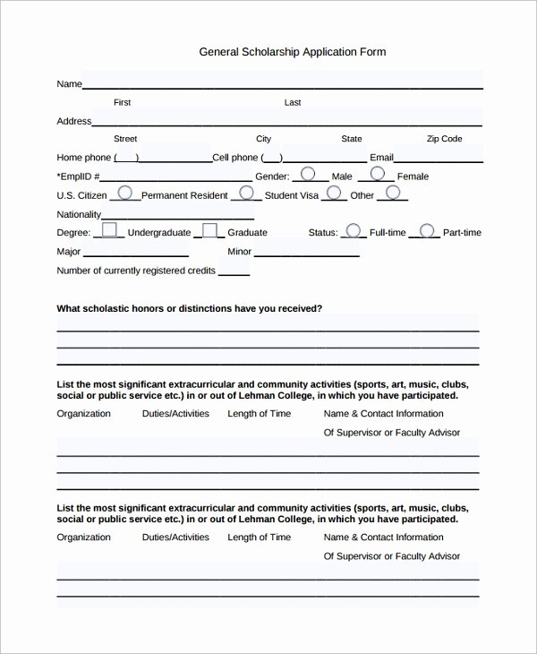 Scholarship Application form Template Luxury Sample Scholarship Application form 7 Documents In Pdf